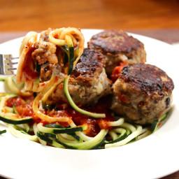 Zucchini Noodle Spaghetti and Ricotta Meatballs