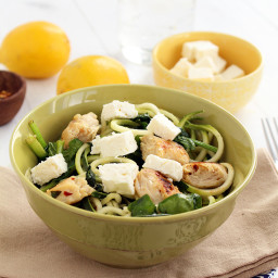 Zucchini Noodles with Chicken, Feta and Spinach