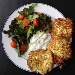 Zucchini Pancakes with Cucumber Mint Yogurt Sauce