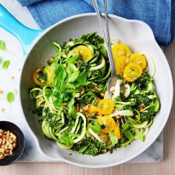 Zucchini pasta with garden green sauce
