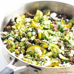 Zucchini Stir Fry with Beef & Pesto (Low Carb, Gluten-free)