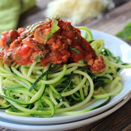 Zucchini Noodles with Meat Mushroom Tomato Sauce