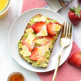 Strawberry, Avocado, and White Cheddar Toast