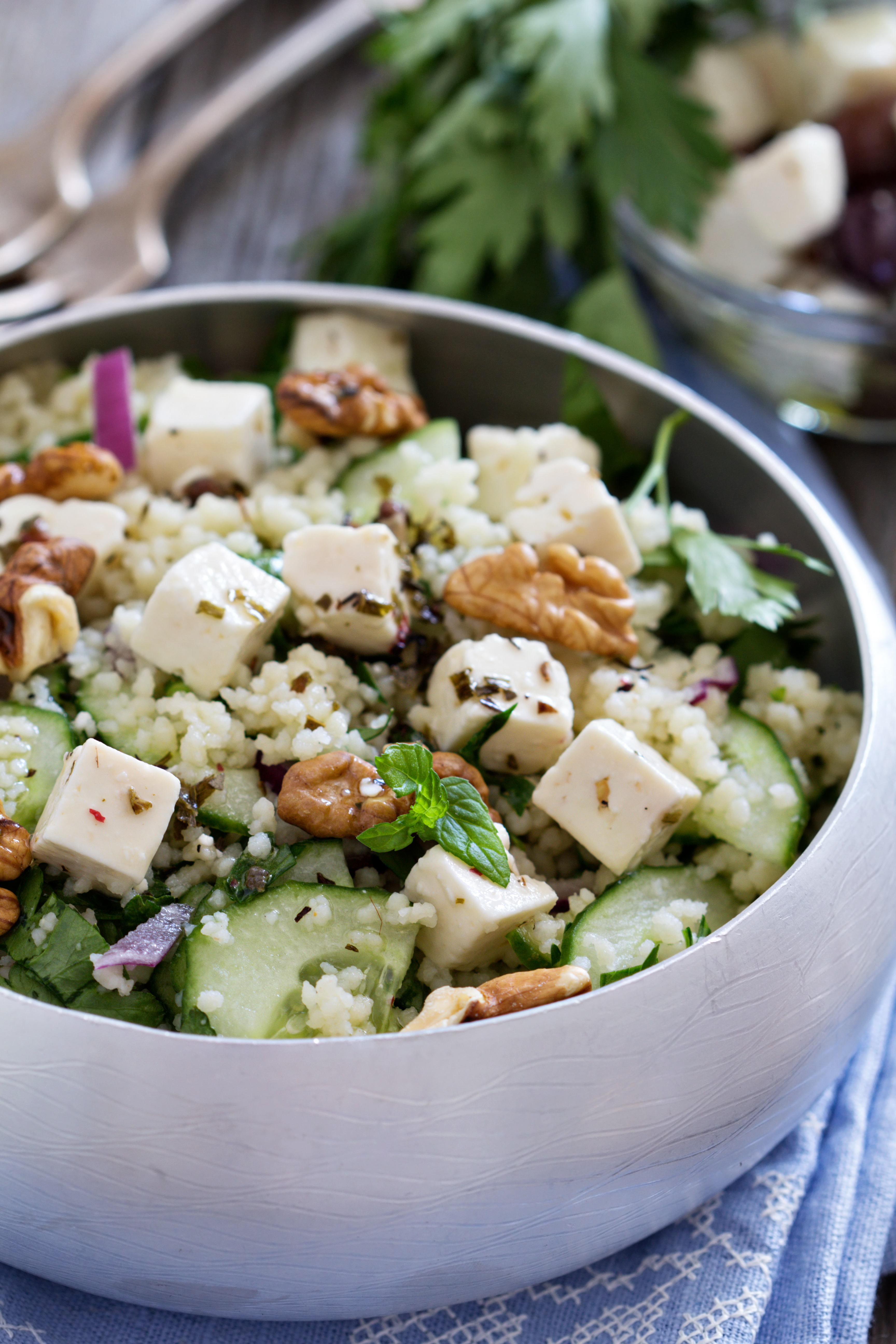 Toasted Israeli Couscous Salad with Mint, Cucumber, and Feta - BigOven