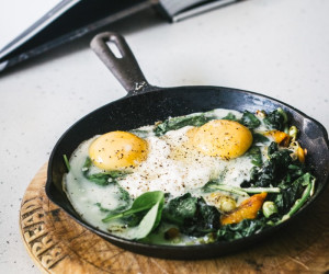 Baked Eggs with Spinach, Ricotta, Leeks and Chargrilled Pepper