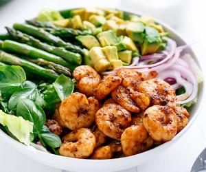 Blackened Shrimp, Asparagus & Avocado Salad w/ Lemon Pepper Yogurt Dressing
