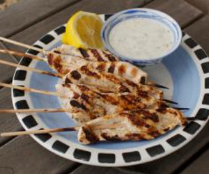 Bollywood Chicken Skewers with Spiced Yogurt Dip