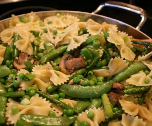Bowtie Pasta with Asparagus, Shitakes and Spring Peas