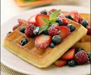 Buttermilk Waffles with Banana-Caramel Sauce