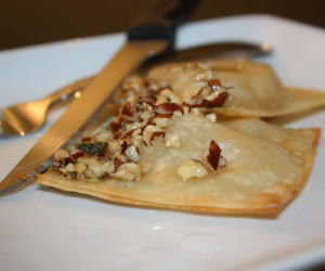 Butternut Squash, Sage, and Goat Cheese Ravioli with Hazelnut Brown-Butter