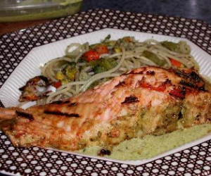 Charcoal-Grilled Salmon Steaks with Grilled Vegetables