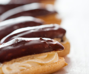 Chocolate Eclairs with Custard Filling