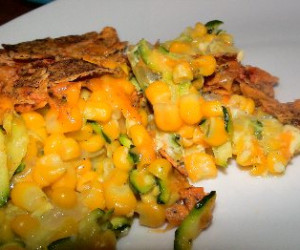 Corn and Zucchini Au Gratin with Chipotle Peppers