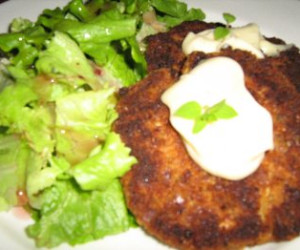 Crab And Salmon Cake with Coriander And Lemon Dressing