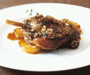 Duck confit with Jersey Royals