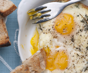 Eggs en Cocotte with Creamed Mushrooms
