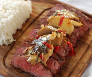 Flat Iron Steak with Mushroom Stir Fry