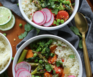 Green Coconut Curry with Spring Veggies and Cauliflower Rice