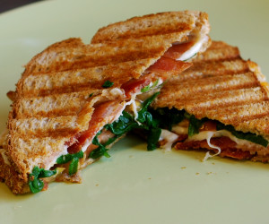 Grilled Mozzarella and Spinach BLTs