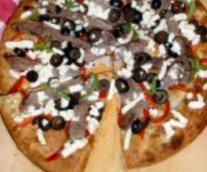 Grilled Steak Pizza with Roasted Red Peppers and Feta Cheese