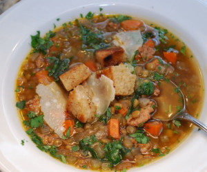 Hearty Lentil Soup with Hot Italian Sausage & Spinach