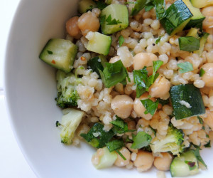 Toasted Israeli Couscous with Veggies, Garbanzo Beans & Parmesan