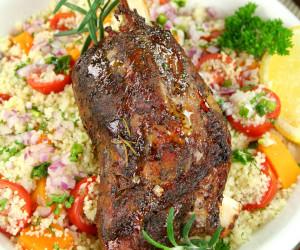 Lamb - Slow Roasted Lamb Shanks with Garlic and Rosemary
