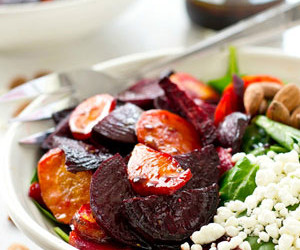 Maple-Roasted Beet and Carrot Spinach Salad