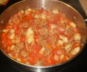 One Skillet- Italian Sausage And Harvest Vegetable Stew