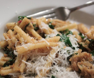 Pasta With Caramelized Onion, Swiss Chard and Garlicky Bread Crumbs