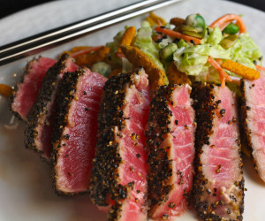 Pepper Crusted Ahi Tuna with Sweet and Spicy Asian Slaw