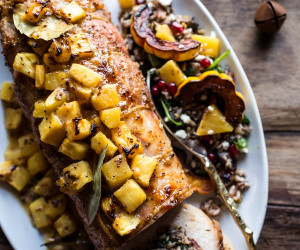 Pineapple Glazed Pork Roast with Bacon Wild Rice Stuffing