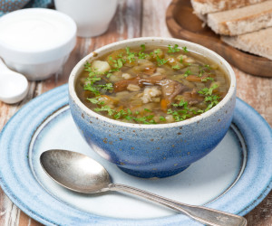 Portabella Mushroom and Barley Soup