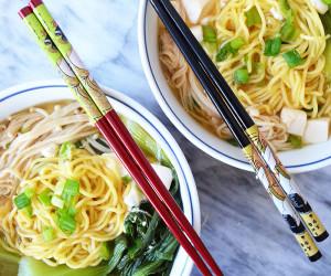 Ramen Miso Soup with Mushrooms & Bok Choy