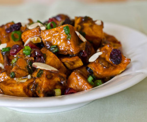 Roasted Sweet Potato Salad with Chutney Vinaigrette