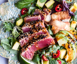 Seared Ahi Tuna Poke Salad with Hula Ginger Vinaigrette + Wonton Crisps
