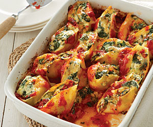 Three Cheese Stuffed Shells with Meat Sauce