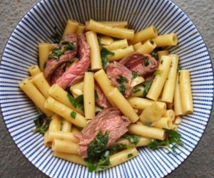 Steak and Spinach Pasta In Garlic and Olive Oil
