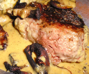 Steak Au Poivre with Mustard Shallot Sauce