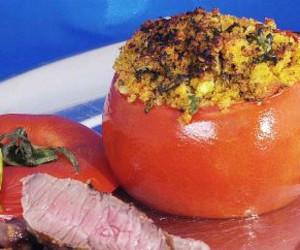 Stuffed Tomatoes with Parmesan, Garlic, and Basil
