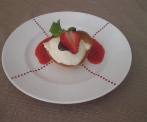 White Chocolate Mousse in Tulip Cups With Fresh Strawberries
