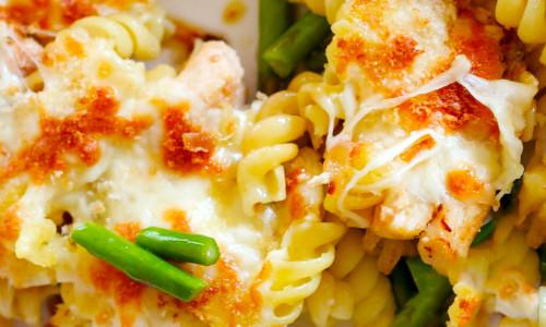 Chicken, Mozzarella, & Asparagus Pasta Casserole