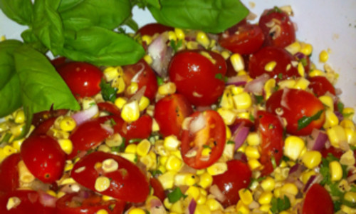Fresh Corn, Tomato and Jalepeno Salad