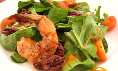 Grilled Shrimp, Radicchio, Spinach Salad