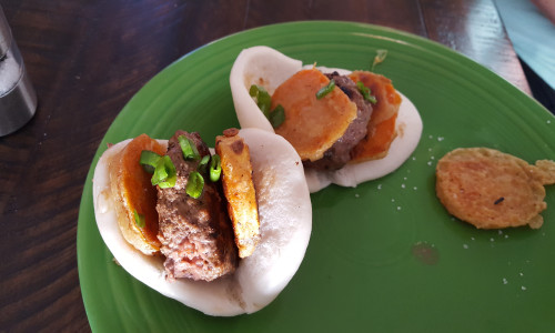 Korean Bao Beef Sliders with Sweet Potato Tempura