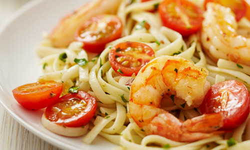 Shrimp Linguine with Tomatoes & Parmesan