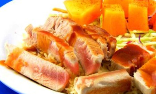 Tuna, Grilled Steaks with Fresh Fruit