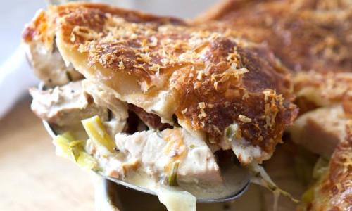 Turkey, ham and leek pie